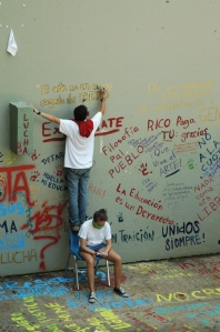 "University of Puerto Rico students continue to protest the up-coming ""stabilization fee"" through peaceful protests and marches. Using the arts, they argue that the fee proposed to save the university from financial crisis, will only prohibit lower income students from participating in higher education."
