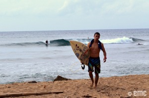 Marcos visits Dome's Beach, Rincón. Marcos takes a rest from a session of surfing during November, 2011