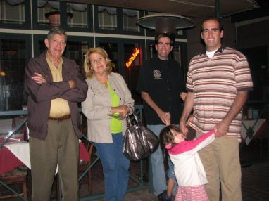 Dr. Manuel Alzugaray with his wife, Conchita and two of his three children, Manuel and Santiago and his granddaughter, Emma.  September 2008.