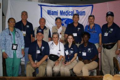 Some of the Miami Medical Team Foundation members in Haiti after the earthquake. February 2010. Dr. Alzugaray, third from the right, first row.