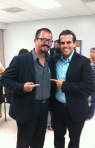 Michael González and Ricardo Rosselló smiled while at a seminar in Cabo Rojo, Puerto Rico, on October 27, 2012.