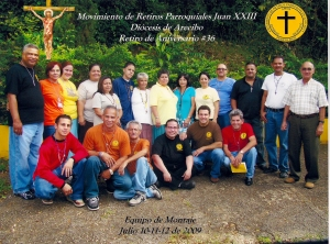 Luis (brown shirt) with a group of catechist  of the Movement of Retreats Juan XXIII. Luis dedicates his life to God and to helping others in this spiritual retreat.