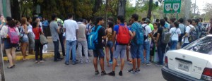 March 15, 2013. Group of students organizing their  group to march to the Mayagüez town hall, for one of the Senatorial views.