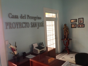 The lobby of Casa Del Peregrino here in Mayagüez. On the wall it reads Project San Jose and on the back you can see the saint.