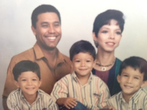 Ernesto Julio, the little boy on the right, with his two brothers and parents.