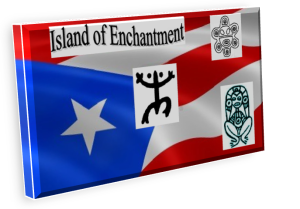The Puerto Rican flag decorated with Taíno Indian symbols.