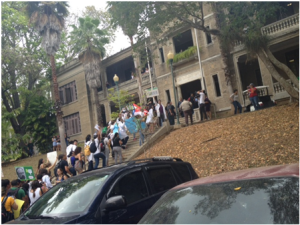 Professors and students protesting in front of the Chancellor's office on May 5, 2013.