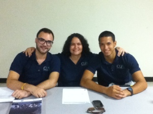 From left to right: Coordinator Representative Alan López, CUA main investigator Dr. Lissette Rolón, and Student Representative Edrick Alvarado.