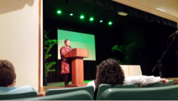 Ana I. Rivera Lassén, President of the Puerto Rico Bar Association, at her keynote address in UPR-Mayagüez.