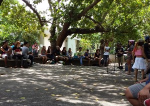 """La Plazita"", located next to Chardon's lobby, is an outdoors area where students go to meet. The people that mainly visit this area are the students that are called ""Chardonitas"". Here, ""free-spirited"" students get together and discuss different aspects of our culture."