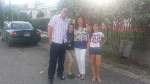 "Sandy Toucet, his wife Yolanda Pacheco and their children Derek and Ariann going out to visit Yolanda's sister in Ponce. But before they got to the house they went to the church so Derek could get his first communion and to celebrate Ariann's birthday afterwards. Yolanda said: ""I was so happy when I saw my son having the first communion, how my children have both grown without me noticing and how my family shared my excitement."""