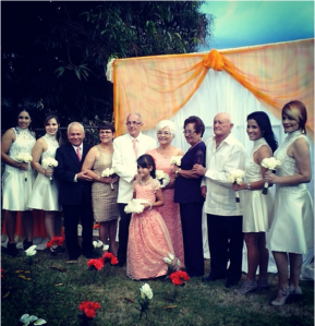 Doña Inés and Baltazar celebrating their renewal of vows on their 50th anniversary.