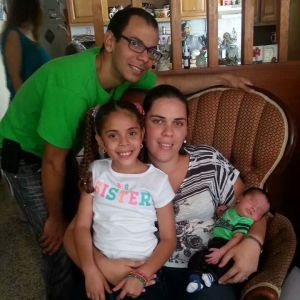 "Roberto de Leon, his wife Maria Rosado and their children Lynnelle and Francisco visiting their grandparent's house. There they celebrated the birth of their new family member Francisco Daniel. Roberto said: ""Lynnelle is not my biological daughter, but she is my little girl and I will love her just as I love my son Francisco Daniel."""