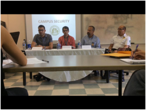 (From left to right) Marcus Ramos, Gustavo Cortinas, Carlos Marrero and Barbosa during  Campus Security Press Conference