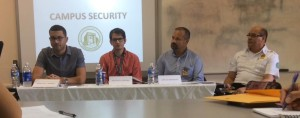 From left to right, Marcus J. Ramos, Gustavo G. Cortina, Carlos Marrero, and Lieutenant Barbosa at the campus security press conference.