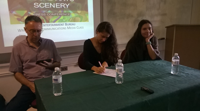 Panelists Baruch Vergara, Lorraine Rodríguez, and Andrea Méndez before starting the press conference.