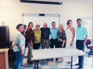 In this photo, conference organizers pose with panelists. From right to left, Ian Aldwen, Professor Jocelyn Geliga, Librada Borrero, Bryan Acosta, Rafael Stoll, Marta Martínez, Catalina Moura, Natali Rivera and Claralys Hernandez. –Emmanuel Robles and Francis Rodriguez also were part of our group but doesn't appear on the photo.