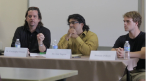 The panelists of the racial profiling press conference at the UPRM. From left to right: Dr. Christopher Powers, Att. José Negrón Rodríguez, and UPRM student Brendan O'Boyle