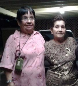 Eva Divina Padilla Acosta  and Ángela Zapata a Saturday night at Eva house in Lajas.