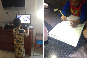 On the left, a youngster plays a video game; on the right, he learns new things while doing his homework. Dedicating too much time and energy to a single activity is not a healthy habit to maintain, evenly balance the time you dedicate to different activities on any given day.