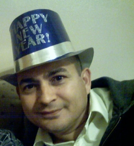 Hector, 46, in a  new year's party. Very happy of the family he has and another great year of being a dad.