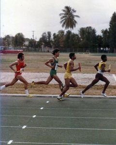 "Ángel David Concepción ""Turbo"" running a relay in LAI, he is the third one right to left."