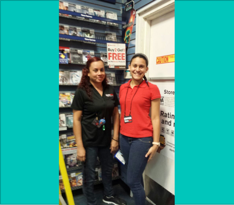 """Veronica Rivera and Alexandra Lopez have worked at Gamestop for 5 and 2 years respectively. They both have been avid gamers since they were kids and that is one of the reasons why they work at GameStop. """" I play everything from Super Smash Brothers to Call of Duty, so it is good working at this store!"""" said Veronica."""