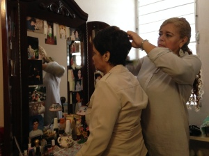 "Elsita also does her aunt's hair and makeup to make her look beautiful everyday. Before Judith had Alzheimer, she would dress up elegantly and to her best. ""I always leave with her looking great so that she feels good about herself."""