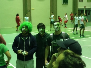 "From left to right, ""Maldo"", Luis Vega and Miguel Ferrer who painted their faces to support their team. They had a pre calculus test the next day and like always they decided to go to the game. ""The tension that feels from everyone is amazing. Whatever happens I will go to my team""."
