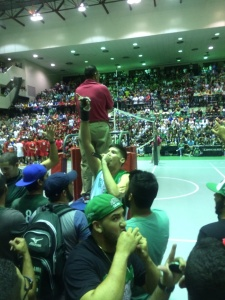 "Robby Mercado animating the public, Nelson Ramos, Gabriel Moraza, Edwin Gonzalez and Luis Vega making him choir, Luis Perez eating a hotdog. This Volleyball game make history with all the crowd that was in there supporting UPRM. ""This semi-final was the classic of classics, best game in the world"""
