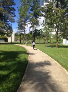 "A pregnant student walking to her classes coming from another building. Walk should had be healthy and good but for a pregnant women that walked long distance all around the campus was more exercise than she needed. ""It is exhausting walking long distances in the university and hard to be on time when you have to go from one building to another in just 10 minutes."""