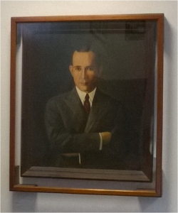 The oil painting of 1959 by Tulio Ojeda, Portrait of Luis Monzón, is located in the lobby of Luis Carlos Monzón Building. The work was created in honor of chemical engineer, Luis C. Monzón who graduated from the class of 1918 from the College of Agriculture and Mechanical Arts (CAAM for its acronym in Spanish), formed part of its faculty and was the first president of the Alumni Association. The Monzón building built in 1939, was the first engineering building and then was the chemistry building before hosting the Department of Mathematics.
