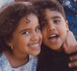 Nelson with his sister in his 6th birthday (1996). Courtesy of Ivelisse Toro Padín.