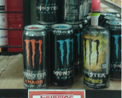 Monster, one of the most popular energy drinks. It Is extremely harmful to the human body. This product is very acidic and effects the blood.