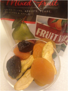 A small serving of a various mix of store-bought  dried fruit. Being fruit it has certain nutritional qualities, but the preservatives needed overlap these qualities causing it to have high various contrary values as well.  Many of these contain sulfur dioxide, which can cause or aggravate lung diseases.