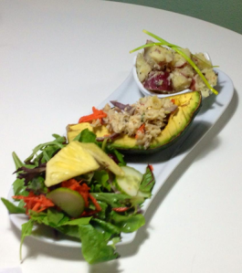 Codfish stuffed avocado salad at Organic Bistro is located in the marketplace of Caguas. Throughout the years, the restaurant has offered a low fat vegetarian menu. It uses 100 percent Puerto Rican products and the chef is Roberto Figueroa.