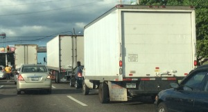 A group of trucks near Mayagüez Mall on a Monday afternoon. Like cars, trucks pollute the air. This is not only a threat for humans, but for the environment.