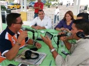Charlie(left) interviewing local politicians close to election day. Ceiba, PR